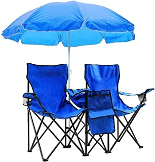 Yescom Double Folding Chair w Umbrella Table Cooler Fold Up Picnic Camping Beach Garden