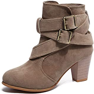 Tiancay Large Size Women's Shoes with Thick with Round Head Belt Buckle Short Tube Martin Boots (Color : Brown, Size : 40)