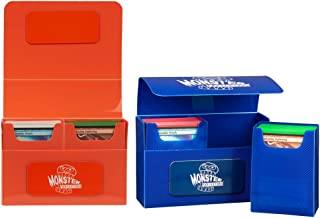 Monster Protectors Trading Card Double Deck Box 2 Pack with Self-Locking Magnetic Closure - Blue and Orange (Fits Yugioh, ...