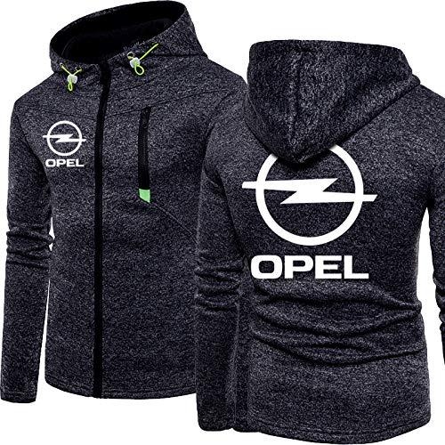 YXACETX Herren Pullover Pullover Reißverschluss Langarm Für Opel Drucken Arbeitskleidung Cardigan Jumper Jacke Einfache Pure Hoodie Sweatshirt Tops Black-Large