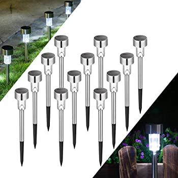 Solpex Solar Lights Outdoor Pathway,12 Pack Solar Walkway Lights Outdoor,Garden Led Lights for Landscape/Patio/Lawn/Yard/Driveway-Cold White (Stainless Steel)