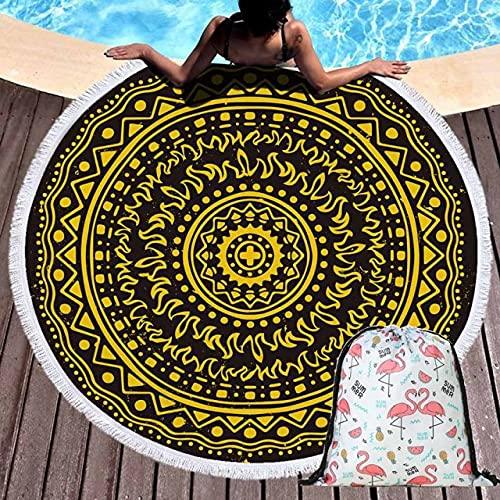 IAMZHL Toalla de Playa geométrica de Verano, Manta Redonda de Flores, Tapiz de Pared, Toalla de baño Junto al mar, Esterilla de Yoga con Mochila con cordón-Towel and Bag 3