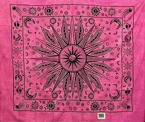 Telo Arredo Copritutto Grande Etnic Sun 210x230 cm 100% Cotone Indiano Stampato Copri divano Gran foulard con Frange Batik Indiano (Fucsia)