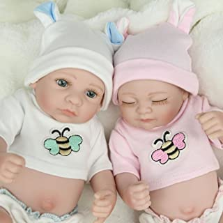 Kaydora 10 Inch Reborn Baby Doll Full Body Vinyl Boy and Girl Twins Washable Bathe Partner Handmade Lifelike Doll Toys