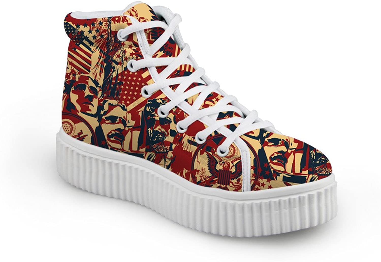 Mumeson American Flag Design Women High Top Sneaker Casual Platform shoes
