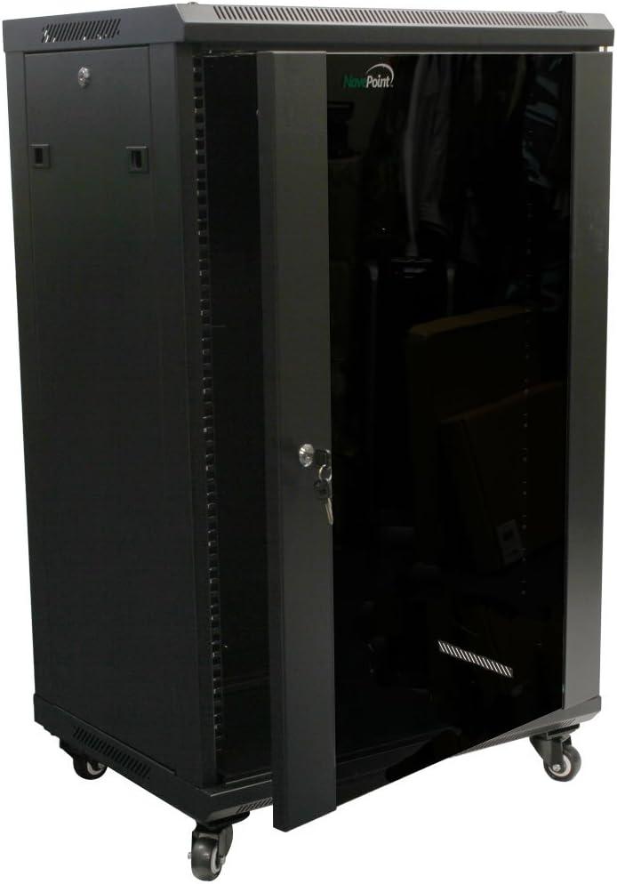 NavePoint 18U Wall Mount Network Server Cabinet Rack Enclosure Glass Door Lock w/Casters