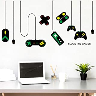 Finduat Video Game Wall Stickers Decal, Gamer Decals for Boys Room, Gaming Controller Joystick Playroom Wall Decals for Bedroom Living Room Decor Removable Art Mural for Boys Kids Men