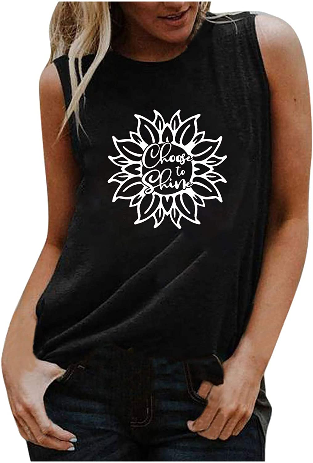 Women Tank Tops Summer Sleeveless Basic T-Shirts Loose Breathable Tunic Round Neck Workout Comfy Vest Blouse