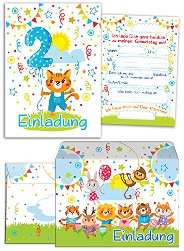 12 Einladungskarten zum 2. Kindergeburtstag für Jungen / Mädchen incl. 12 Umschläge / Bunte Einladungen zum Geburtstag für Jungen/Mädchen Süße Tierchen / Süßer Kater (12 Karten + 12 Umschläge)