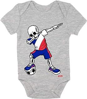 Hariz - Body de manga corta para bebé, diseño de esqueleto de la Selección Alemana de Fútbol gris Bleistift Grau Talla:0-3...