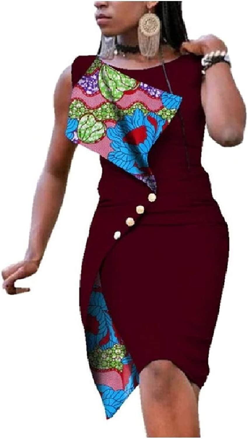 Baseby Womens African Wax Print Classy Dashiki Bodycon Party Dresses