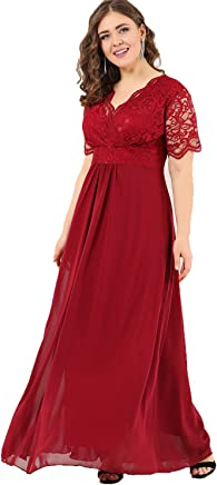 ffa8d0fb2 Angelino Boutique Plus Size Women's Full Lace Fabric Top Guipure Short  Sleeve Evening Dress Burgundy DD793