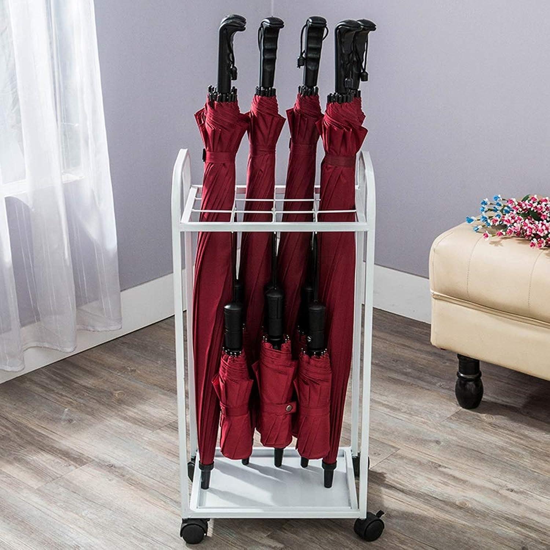 MYQ Umbrella Stand, Wrought Iron Umbrella Stand 12 Grid 6 Hook Umbrella Stand Floor Folding Umbrella Stand (color   White)