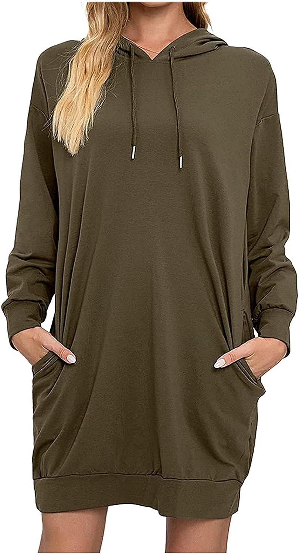 Women's Dresses Long Sleeved Pocket Pullover Hoodie Waist Sweatshirt Solid Tops Midi Dress