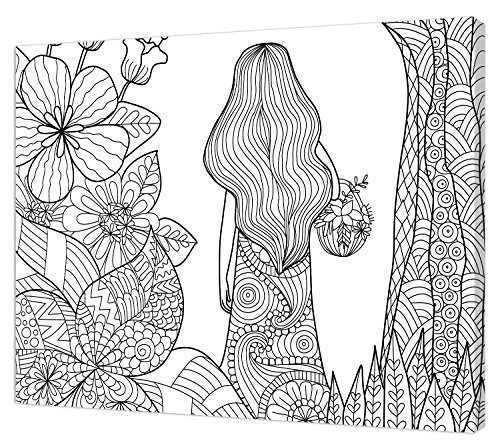 Pintcolor 7820.0 châssis avec Toile imprimée à colorier, Bois de Sapin, Blanc/Noir, 40 x 50 x 3,5 cm