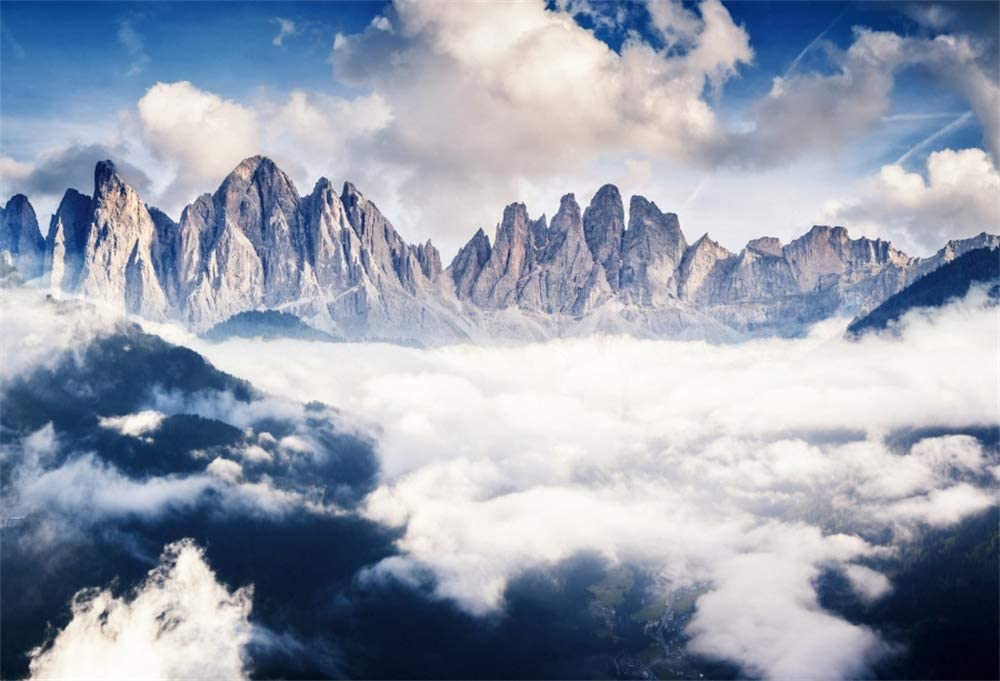 AOFOTO 9x6ft Italy NEW before selling Dolomiti Backdrop White Ranking TOP20 Clouds Foggy National