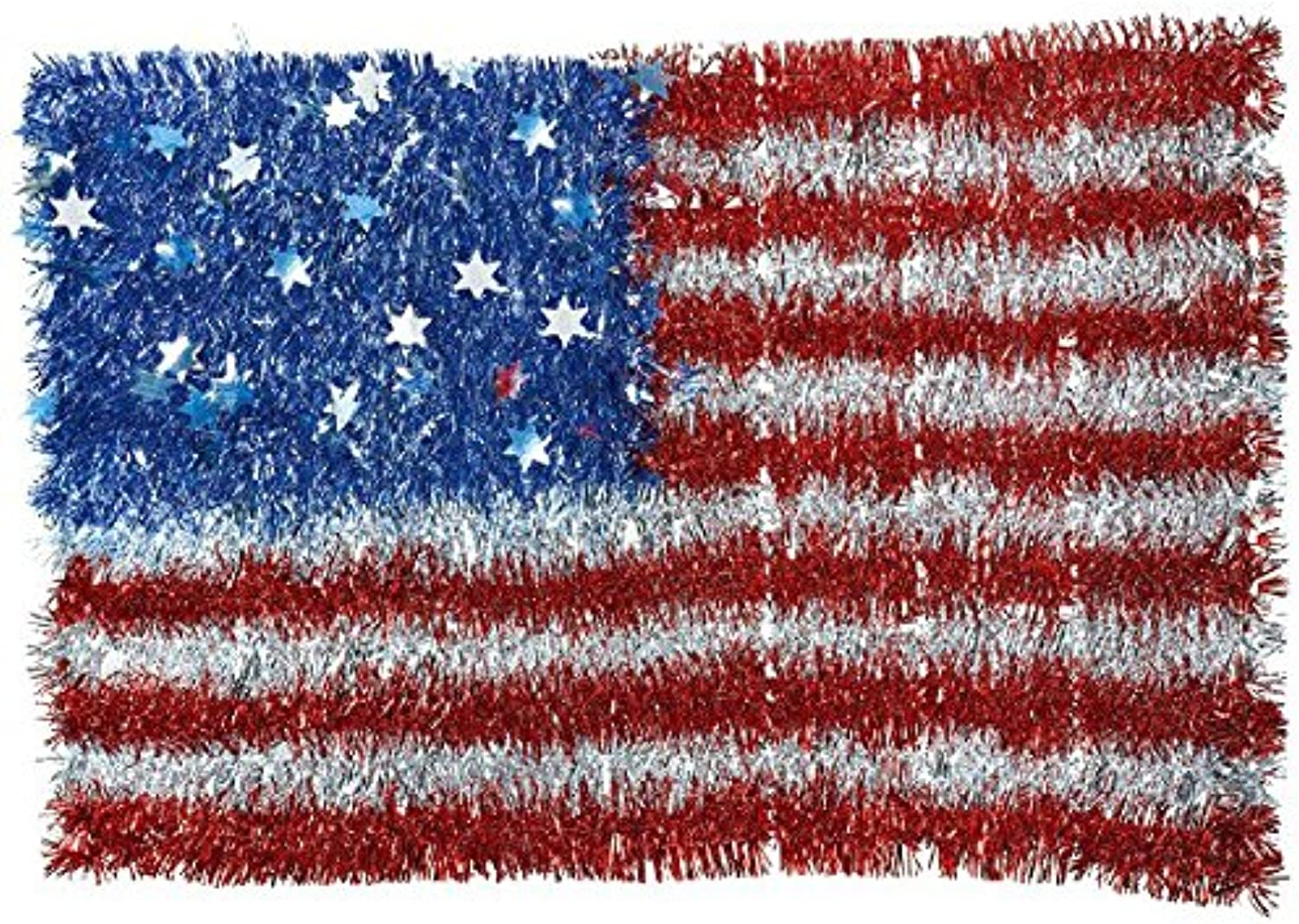 Amscan 241036 Old Glory Fourth of July Party American Tinsel Flag Decoration, Multicolor, 12 13 16  x 19