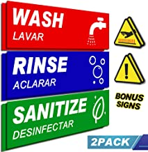 2 Pack Wash Rinse Sanitize Sink Labels With Bonus Warning Sticker, Perfect Sticker Signs for 3 Commercial Stainless Steel Sink, Restaurants, Commercial Kitchens, Food Trucks, Dishwashing.