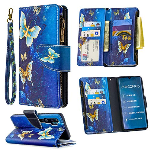 Nadoli Reißverschluss Brieftasche Etui für Xiaomi Note 10,Bunt 9 Karte Halter Pu Leder Gold Schmetterling Entwurf Lanyard Magnetisch Standfunktion Flip Schutzhülle