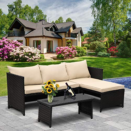 Valita 3-Piece Outdoor PE Rattan Furniture Set Patio Wicker Conversation Loveseat Sofa Sectional Couch Khaki Cushion
