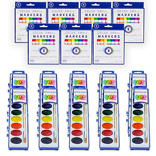 Color Swell Art Mixed Pack (10 Washable Markers and 10 Watercolor Paints) Perfect for Families, Classrooms, and Parties