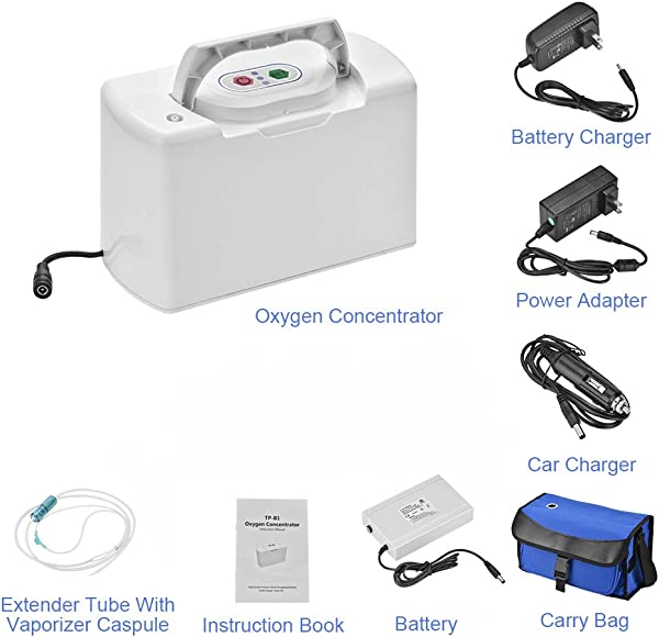 TTLIFE Portable Oxygen Bar Machine O2 Concentrator Generator With One Battery For Travelling And Car Use 110V