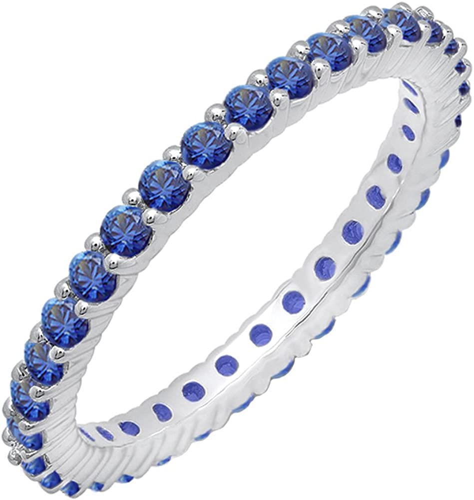 Dazzlingrock Collection 1.00 Carat (ctw) 14K Gold Round Blue Sapphire Ladies Eternity Stackable Ring Wedding Band 1 CT
