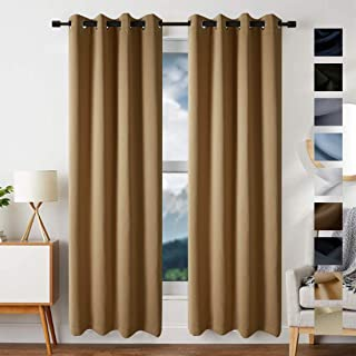 EDILLY Blackout Curtains for Living Room Thermal Insulated Solid Grommet Curtain Double Panels Drapes for Bedroom/Kitchen Windows (2 Panels, W52xL63 inch Length, Camel)