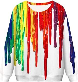 FEISI22㉿ Unisex Men Women Ugly Christmas Pullover Sweatshirts 3D Digital Printed Graphic Long Sleeve Shirts Halloween
