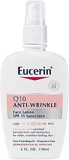Eucerin 敏感面部肌肤 Q10 抗皱敏感肌肤乳液,SPF 15 * 4 Fluid Ounce (Pack of 2)