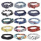 FIBO STEEL 15 Pcs Headbands for Women Wide Boho Knotted Yoga Head Wrap Hair Band Elastic A