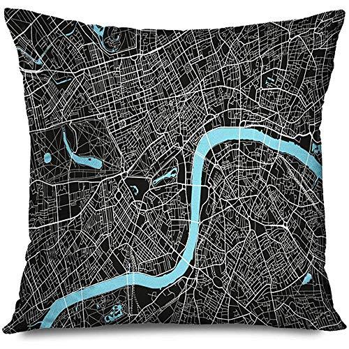 Mackinto Funda de Almohada Cuadrado Decorativo 18x18 Reino Unido Gris Viejo Negro Blanco Mapa de la Ciudad Cartografía Londres Resumen Atlas Baker Street UE Gran Bretaña Británico