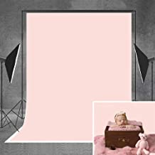 Allenjoy 5x7ft Pure Solid Color Baby Pink Thin Fabric Photography Backdrop Indoor Portrait Studio Headshots Photo Backgrou...