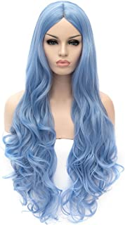 Flovex Women Long Wavy Cosplay Wigs Ladies Sexy Natural Costume Club Party Daily Hair with Wig Cap (Sky Blue)