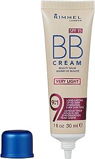 Rimmel London BB Cream, 9-in-1 Lightweight Formula with Brightening Effect and SPF 15 Formula, Very Light, 30 ml