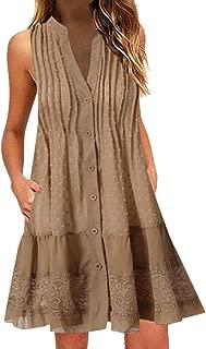 Women Sleeveless Tunic Dress | V-Neck Button Tank Sundress Lace Patchwork Flowy Swing Loose Shirt Beach Dress