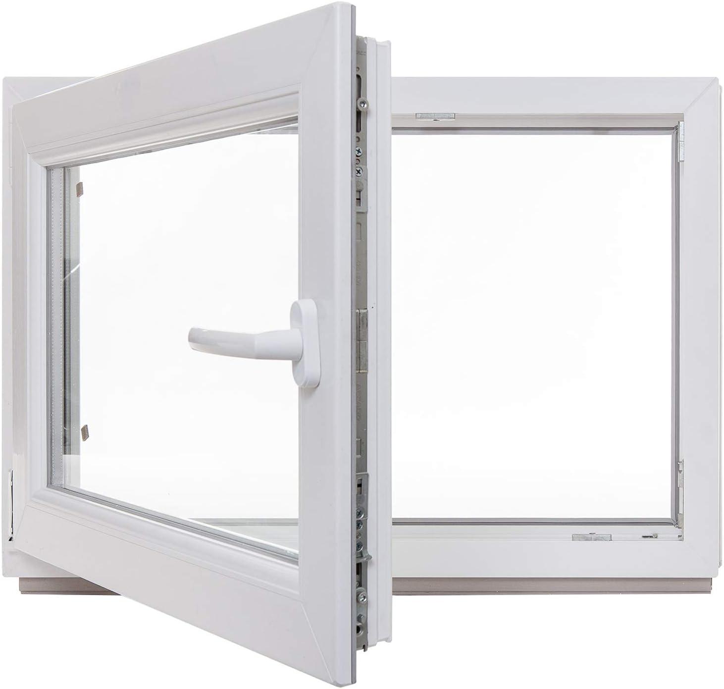 verschiedene Ma/ße 60mm Profil LAGERWARE wei/ß Kunststoff 3-fach-Verglasung BxH: 100x80 cm Fenster Kellerfenster DIN rechts