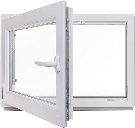 Kellerfenster Kunststoff Fenster BxH: 70 x 60 cm wei/ß Lagerware 2-fach-Verglasung DIN links