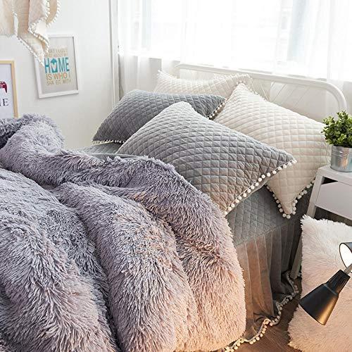 single duvet cover,Winter thick warmth sheet quilt cover mink velvet four-piece solid color plus velvet coral velvet-Bed skirt quilted gray (send pillow)_1.8m 4pcs