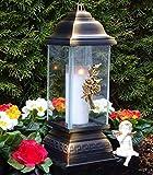 Tomba lampada con rose ornament Argento 34,0cm Grab candela tomba luce ♥ Tomba gioiello a forma di cuore rose Grab lampada da Cimitero Tomba luce