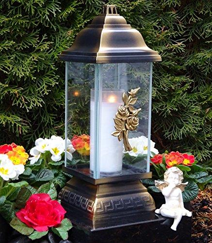 ♥ Grablampe Rosen Ornament Bronze 34,0cm Grabkerze Grablicht Grablaterne Grabschmuck Grableuchte Laterne Kerze Lampe Licht