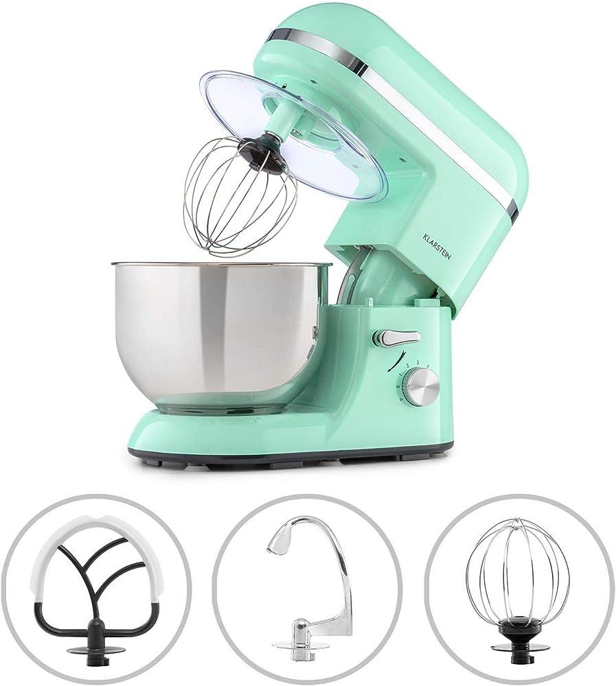 Klarstein, robot da cucina, impastatrice planetaria, 6 livelli di potenza, ciotola in acciaio da 5 litri TK2-BellaEleganceBlu