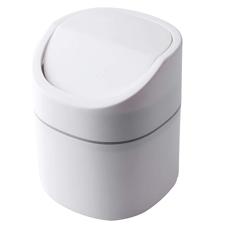 Sheebo Modern Award-winning store Trust Plastic Mini Trash Can for Lid Wastebasket with Ba