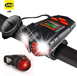 Jowbeam USB Rechargeable Bike Light - 800 Lumens Headlight & Tail Light Set-Bike Bell- Waterproof- Fits All Bicycles, Hybrid, Road, MTB