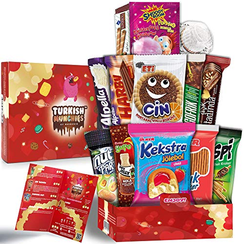 Midi Special American Alike Turkish Sweets and Chocolate Treat Box Care Package, Old Fashioned Sweet Food Hamper and Gift Selection Basket for Him, Her, Kids and Birthdays