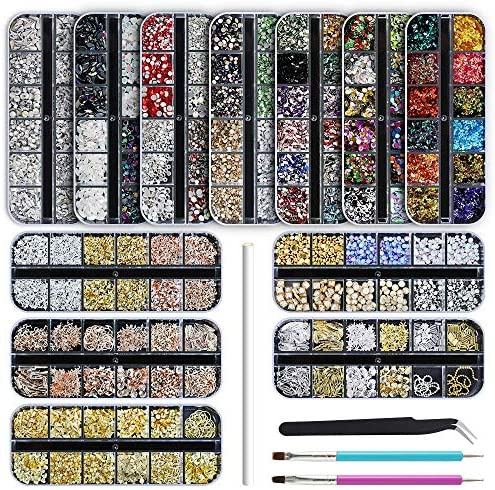 Artdone 12 boxes Nail Rhinestones Nail Gems Nail Diamonds Nail Art Studs Nail Crystals Nail product image