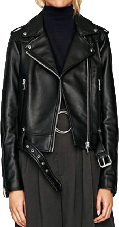 SweatwaterCA Women FauxLeather Lapel Motorcycle Zipper Up Casual Belt Jackets Coat