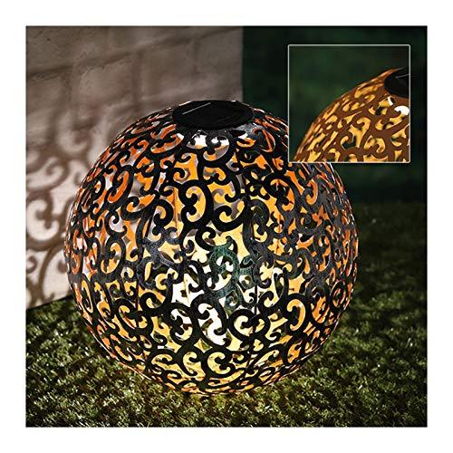 LED Solar Dekokugel mit Rost Look 28 cm - Ornamente - Solarlampe für Außen - Dämmerungssensor - Lithium Akku - mit Erdspieß/Dorn - Deko Solarleuchte - Gartenbeleuchtung - Gartenlampe - Beleuchtung