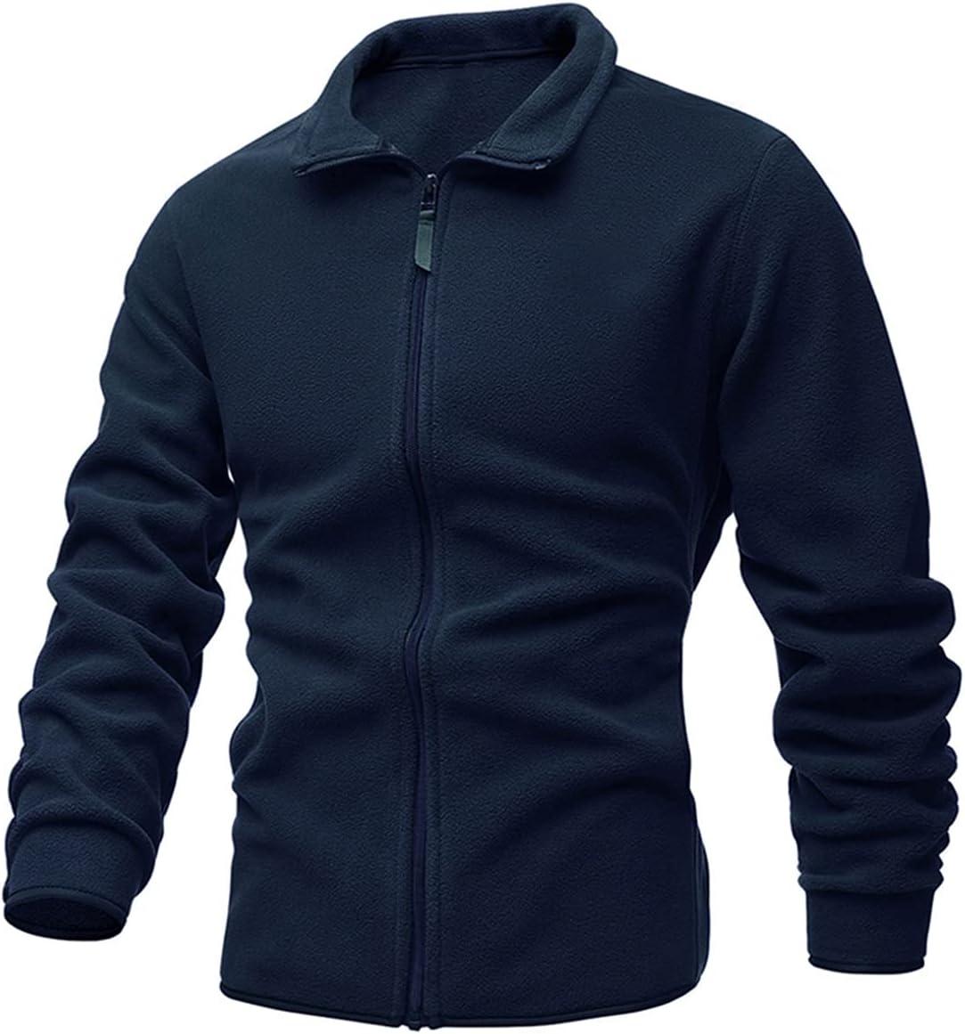 PJRYC Men's Jacket Slim Double-Faced Fleece Sweater Casual Warm Winter Coat (Color : Blue, Size : A)