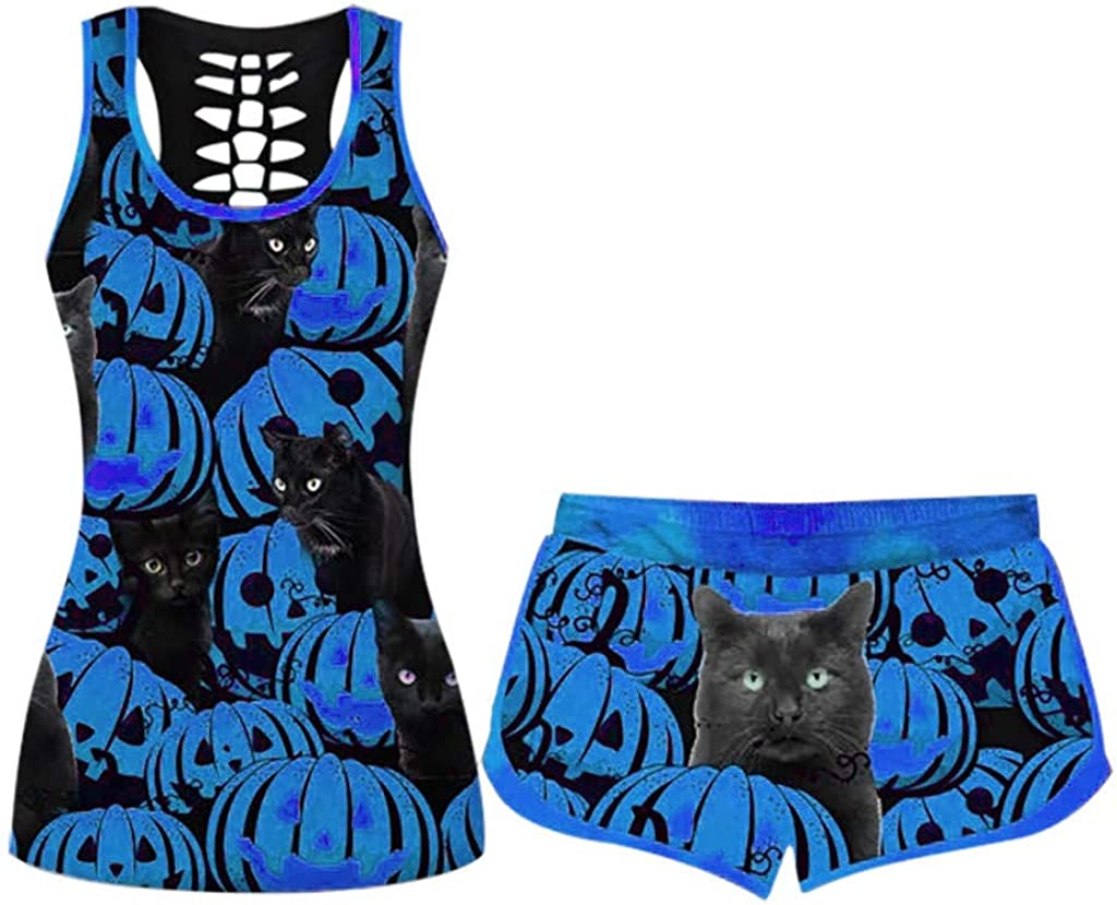 Pajama Set for Women Halloween Soft Pumpkin Print Outfits Sleepwear Workout Tank Tops and Shorts Stretch Bottoms Suits